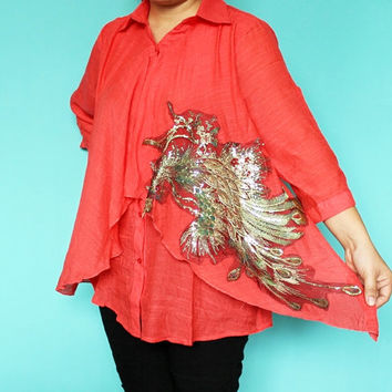 New Women Blouse Top Red Peacock Shirt Kaftan Caftan Embroidered Tunic Fall Ladies Tshirt