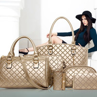 Stylish Bags Set Tote Bag+Clutches+Wristlets+Wallet 6pcs [6582316743]