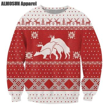 ALMOSUN Ugly Christmas 3D All Over Print Crewneck Pullover Sweatshirts Hipster Funny Streetwear Casual Jumper Unisex Dropship
