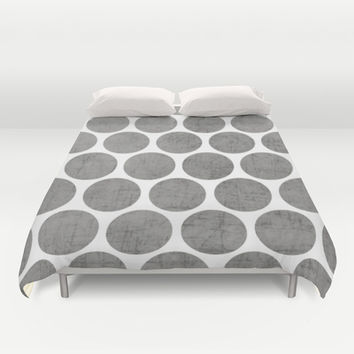gray polka dots Duvet Cover by Her Art