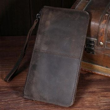 100 handmade retro genuine leather wallet card hold purse 05 2
