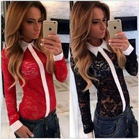 Long Sleeve Lapel Collar Lace Shirt