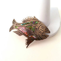 Vintage Sterling Fish Brooch rainbow abalone silver Mexico artisan Native mid century modern Ocean Jewelry old pawn hallmarked stamped shell