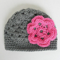 Newborn Girl Gray Hat With Pink Flower 0 To 3   Month Infant Fall Cloche Winter Grey Cap Baby  Beanie