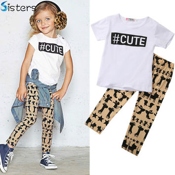 Retail Summer Children Casual Baby Girl Clothing Toddler Kids Girl's Clothes Cute T Shirt Tops + Pants 2PCS Outfits Set 0-5T Hot