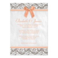 Coral Rustic Burlap Wedding Invitations