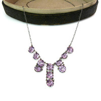 Art Deco Crystal Necklace. Amethyst Pink Fringe Choker. Open Back Crystals, Sterling Silver Paperclip Chain. Vintage 1920s Special Occasion