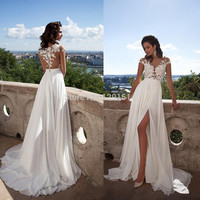 Sexy See Through Split Wedding Dresses 2017 New Arrival Chiffon Lace Brush Train Ivory Robe De Mariage Summer Beach Bridal Gowns