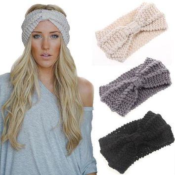 Knited Headband Bow Crochet Turban Head Wrap Hair Accessories