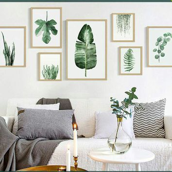 Modern Green Tropical Plant Leaves Canvas Art Print Poster Nordic Green Plant Wall Pictures Kids Room Large Painting No Frame Pi