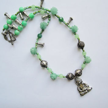 Antique SIlver Colored Buddah in Green Bead  Necklace
