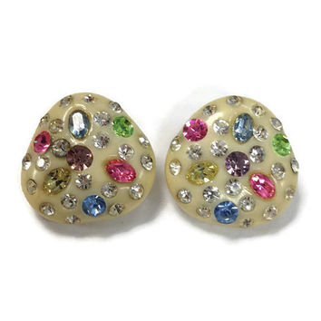 Vintage Earrings, White Celluloid and Colored Rhinestone Clip Earrings, 1950s