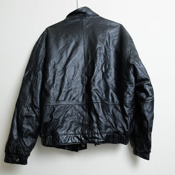 Vintage 80s/90s Members Only Black Leather Zip Up Biker Jacket