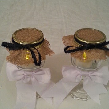 Burlap white black wedding candle jar / center piece set. Any color to match your wedding