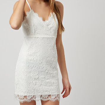 White Strappy Lace Bodycon Dress
