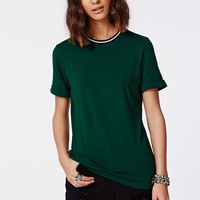 Missguided - Amorette Rolled Sleeve Sports Rib T shirt Deep Green
