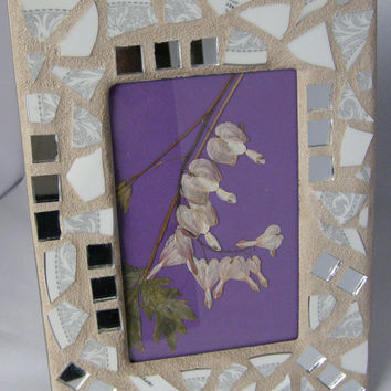 White Silver 4 x 6 Pottery Frame, Shabby Chic, Cottage Chic, Mosaic Frame, Mirror Frame, Floral Frame