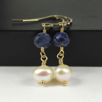 Lapis Lazuli Earrings with Pearls, 14K Gold-Filled Natural Pearl Earrings, Lapis Lazuli Gemstone, Natural Freshwater Pearls, Bridesmaids