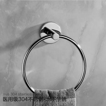Modern Chrome Polished Towel Holder Towel Ring Round Base 304 Stainless Steel Towel Rack Mounting Bathroom Hardware Set Tm2