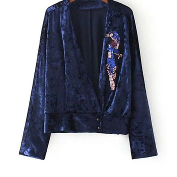 Velvet Tops Royal Blue Sequin Blouse Women Tunic Tops Fall Fashion New Sexy Deep V Neck Long Sleeve Blouse