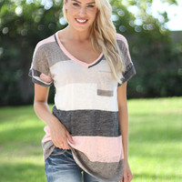 Ivory and Pink V-Neck Top