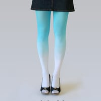 Ombre (gradient) tights white-turquoise