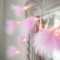 20 Led Fairy Pink Feather Battery Operated String Lights