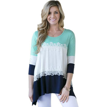 Women Loose Top Casual Patchwork Lace T-shirt Summer Tee