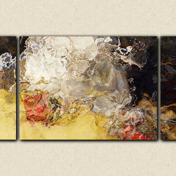 "Large triptych abstract art stretched canvas print, 30x60 in neutral earth tones, from abstract painting ""Earth Day"""