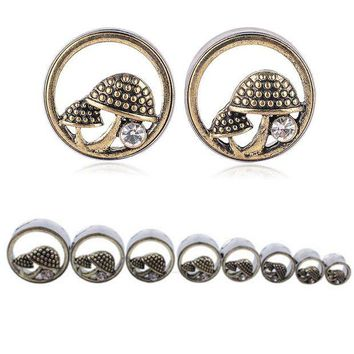 ac DCCKO2Q 1 Pair Shellhard Double Flares Ear Gauges Plugs Fashion Hollow Out Mushrooms Crystal Ear Flesh Tunnel Body Piercing Jewelry
