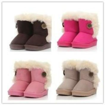 2016 New children snow boots fur winter girls Children Thicken Shoes For baby Kids chi