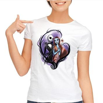 New 2016 Corpse Bride Pattern Printed T shirt Women Casual Short Sleeve Gothic Nightmare Before christmas Tee Tops Clothes