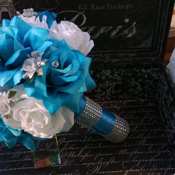 Malibu Blue White Rose with Silver accents Wedding Bouquet, Blue White Bouquet Bridal Bouquet Turquoise Bouquet, Malibu Blue Wedding Bouquet