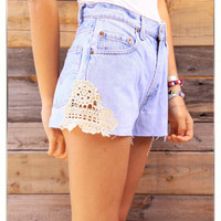Levis Up-cycled High Rise Cowgirl Cut Denim Crochet Lace Short Daisy Duke Shorts Full of Americana Country Charm Medium