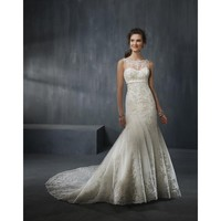 Mermaid Vintage Wedding Dress with Lace Embroidery - Star Bridal Apparel