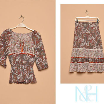 Vintage 1970s Paisley Print Two-Piece Set with Tiered Skirt