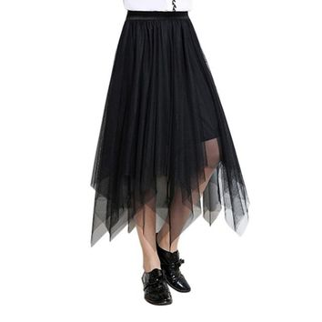New Fashion harajuku Skirt Women's Sheer Tutu Skirt Tulle Irregular Mesh Layered Midi Summer Casual Skirt Black Gray W4