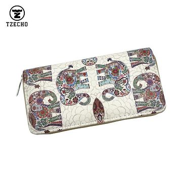 TZECHO Zipper Around Womens Wallets PU Print Animal Long Organizer Femal Purses Coin Pocket Credit Card Holder Ladies Clutch Bag