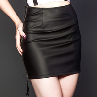 Lip Service Black Vegi Zipper High Waisted Mini Skirt