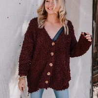 Happy To See You Again Fuzzy Cardigan - Burgundy