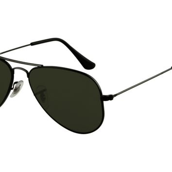 Ray Ban RB3044 Aviator Sunglasses Black Frame Crystal Deep Green