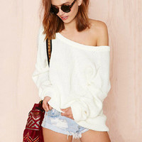 White Off Shoulder Long Sleeve Back Open Knit Sweater