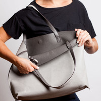 Reversible Leather Tote in Lt. Gray