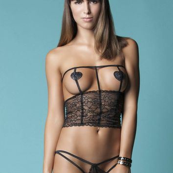 Hauty The Master Plan Lace Cage Top Bra Open Cups and Panty Set