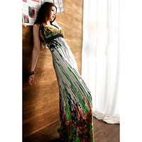Color Block Printed Halter Maxi Dress