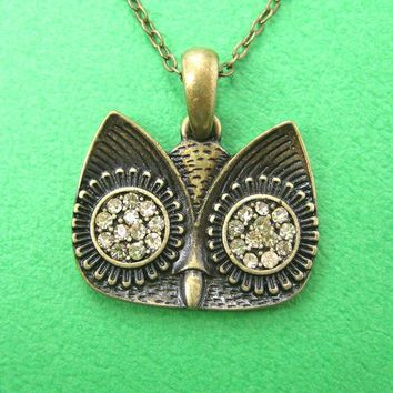 Simple Owl Animal Pendant Necklace in Bronze with Rhinestones on SALE