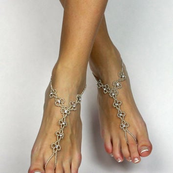 Daisy Rhinestone Flower Barefoot Sandals Silver Foot Jewelry Anklet Bridal Beach Wedding