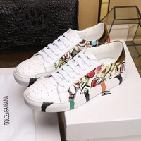 Ready Stock D & G Dolce & Gabbana Men's Leather Fashion Low Top Sneakers Shoes #174