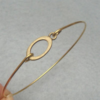Letter O Brass Bangle Bracelet