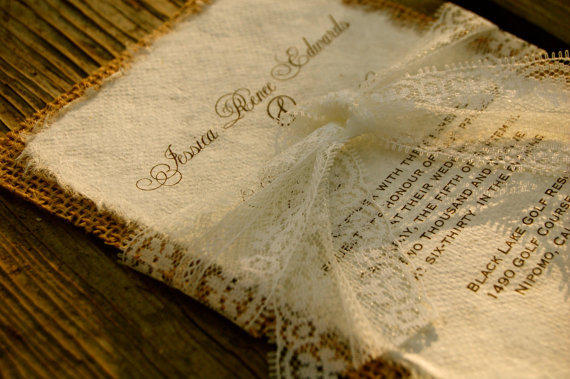 Making Wedding Invites Yourself: Do It Yourself Lace And Burlap Wedding From